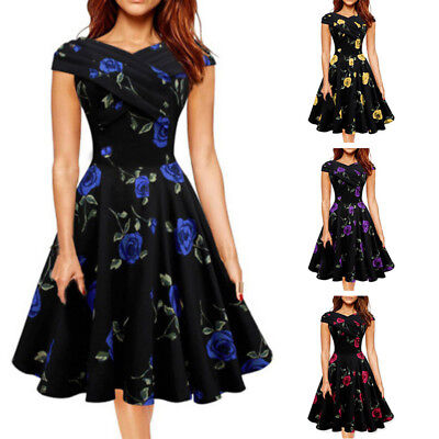 Women Polka Skull Vintage Swing Retro Rock Cocktail Party Dress Cap Sleeve