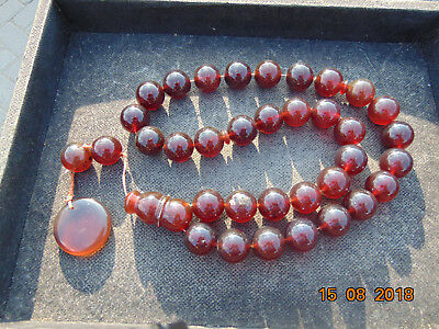 81 Gr 10 Round Beads Bangle Bracelet Indonesia Yellow Red Amber 25 mm