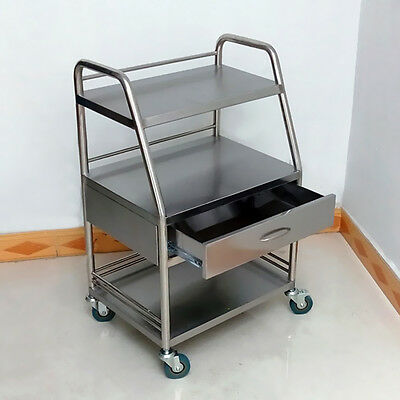 Stainless Steel Medical Lab Trolley Dental Three Layers Cart with One Drawer UDW