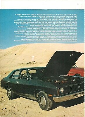 Original Vintage Australian 5 Page History Feature On The Ford Falcon