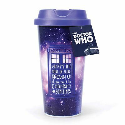 New Doctor Who TARDIS Galaxy Travel Mug Plastic Thermal Time Lord Official
