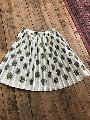 Vintage Silk Crepe Off White Floral Fruit Lancetti Pleated skirt 1950s