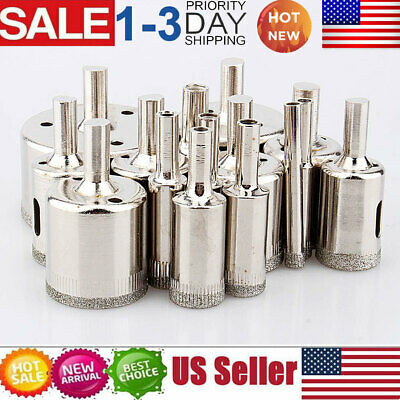 15pcs Diamond Hole Saw Drill Bits Set Tile Ceramic Cutter Glass Marble 6-50mm