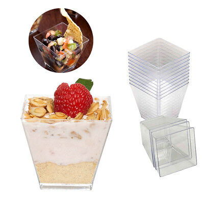 50x Mini Plastic Cube Clear Dessert Cup Square Sauce Starter Party Tableware 2oz