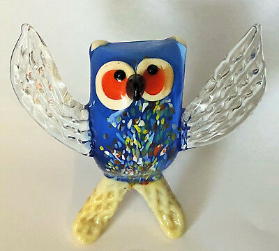 Hand Blown Art Glass Owl Blue and multi-coloured figure