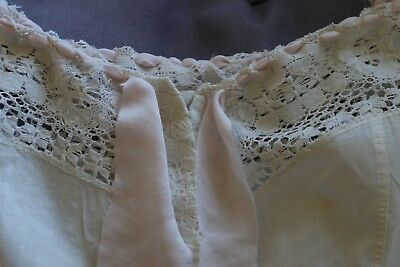Vintage Antique Corset Cover Camisole 100% Cotton Body 100% Silk Unusually BIG!!