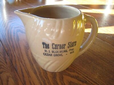 Cedar Grove Wisconsin Advertising H J BLOEMERS Store Pitcher Pottery Vtg Antique