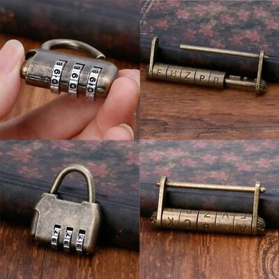 Antique Vintage Combination Password Padlocks Decor Locks for Jewelry Wooden Box