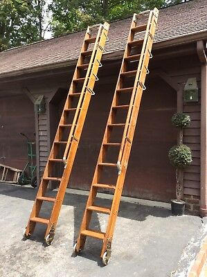 2 Same Vtg WESTERN UNION Rolling Wood Library / Warehouse Ladders W/ Rails -Nice