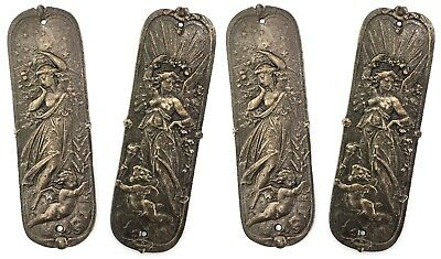 Two Pairs Of Antique Style Ornate Decorative Cast Iron Door Finger Push Plates