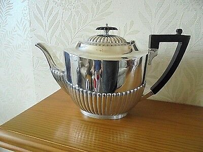 Large Half Ribbed Silver Plated Tea Pot
