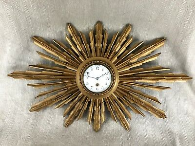 Antique French Wall Clock Gold Sunburst  Louis XVI Style Art Deco Clockwork