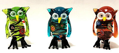3 Hand Blown Art Glass Mini Owls in gift boxes