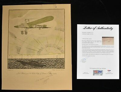 1928 Louis Bleriot Aviation Signed Print From Flyer Series by Lemon PSA LOA