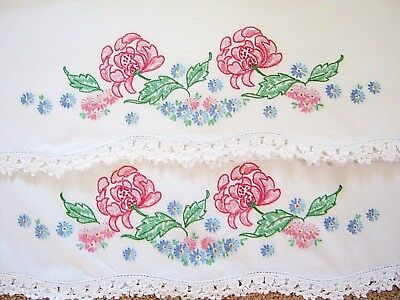 Vintage Pair Cotton Hand Embroidered Pillowcase Set Pink Floral w Crochet Edge