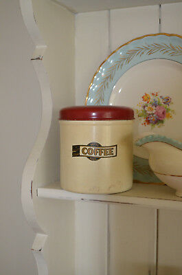 SHABBY CHIC Sweet Vintage Metal COFFEE Storage Red Cream Tin Cannister 1940s