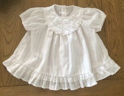 Vintage 1980s Baby Girl St Michael M&S Summer Dress White Age 3 Months Lace