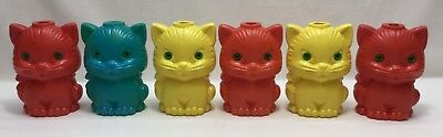 6 Replacement Vintage Cat Kitten Plastic Blow Mold String Light Camper RV Patio