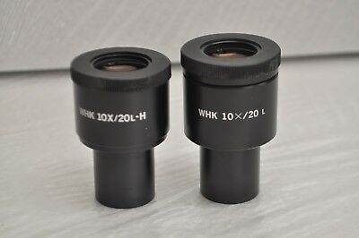 A Pair of Olympus WHK 10X/20L & WHK 10/20X H Microscope Eyepieces 23mm