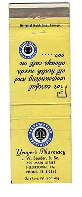 Yeager's Pharmacy Hellertown Pennsylvania Vintage Matchbook Cover Aug18