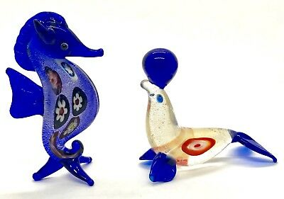 Hand Blown Art Glass 2 x figures one seal & one seahorse