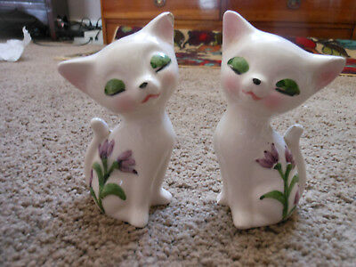 Vintage Glazed Cat Salt And Pepper Shakers Set With Raised Flowers, Eyes Closed