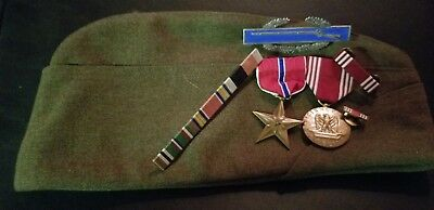 Ww2 Bronze Star /sterling Silver Cib/ Named Good Conduct Medal /ribbons /hat