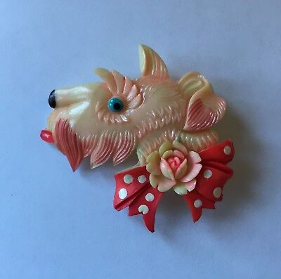Vintage 1940's Early Plastic Celluloid Scottie Dog & Bow Brooch Pin - Book Piece