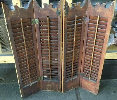 "Beautiful Pair of Vintage Wood Louvered Window Shutters 36"" Antique"