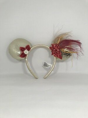 Disney Parks Minnie Mouse Ears Headband Tan/Beige Sequin with Feathers & Bow