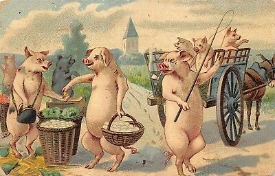 Fantasy Pigs on a Postcard-Collecting Baskets and Riding in a Wagon