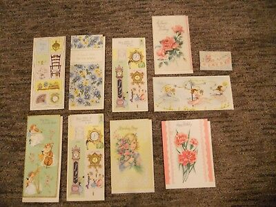 LOT of 10 Vintage Assorted Greeting Cards With Envelopes UNUSED