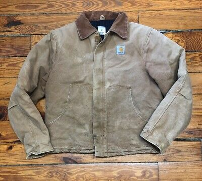Mens Vintage Carhartt Made In USA Duck Canvas Two Pocket Chore Coat Size 44 Tall