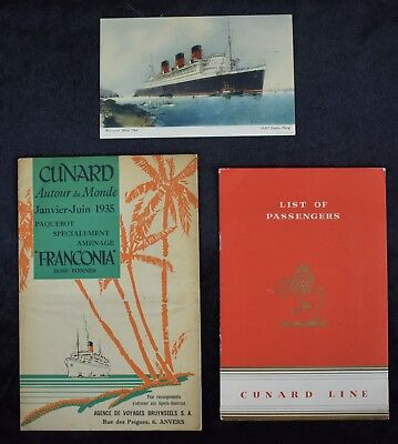 1935 Cunard Queen Mary Ad Card & Passenger List & Franconia Map  (3 items)