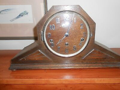 Art Deco Oak Cased German Chiming Mantle Clock For Spares Or Repair Ticking!