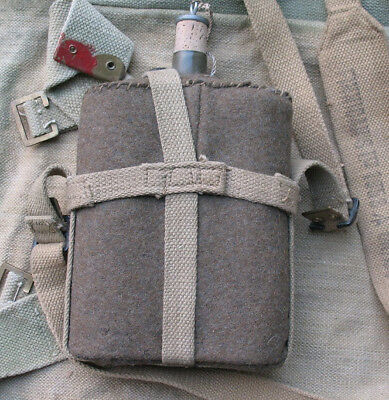 Excellent Condition wool felt covered WWII British canteen w strap, Finnigan