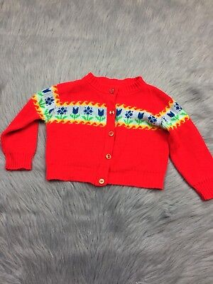 Vintage Toddler Girls Bright Red Blue yellow Floral Cardigan Tulip Sweater