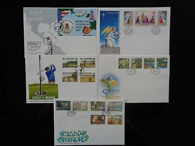 ISLE OF MAN 1997 5 x DIFFERENT COMMEMORATIVE FIRST DAY COVERS