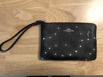 NWT authentic Coach Wristlet Black with white stars