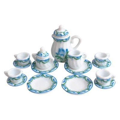 Dollhouse Miniature 1: 12 Toy Kitchen Dining Room 17 pc Porcelaine Tea Set O1G2
