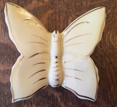 Yellow Butterfly Wall Pocket Vase -22kt Gold Trim - 12.5cm X 13cm