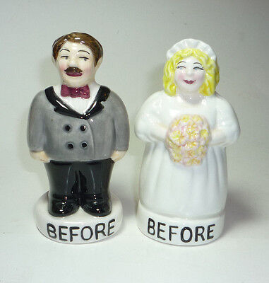 Marriage Wedding BEFORE & AFTER Bride & Groom SALT & PEPPER SHAKER  FREE SHIP
