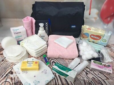 Large Pre Packaged Labour/hospital Bag,baby Shower, Pink  22 Items - Free Post