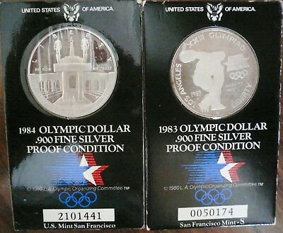 USA, 2 x 1 Dollar 1983, 1984, Olympia Los Angeles, Silber, Top