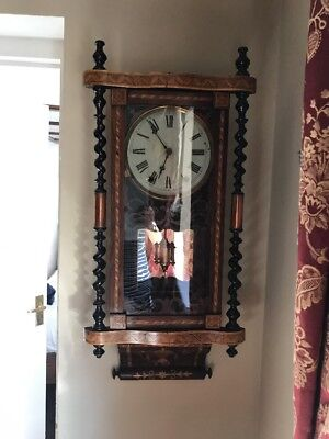 Anglo American Inlaid Wall Clock Beautiful. Please See Description