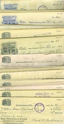 The Peoples Bank & 1st National Bank Checks Montoursville, PA 1930's Total 200