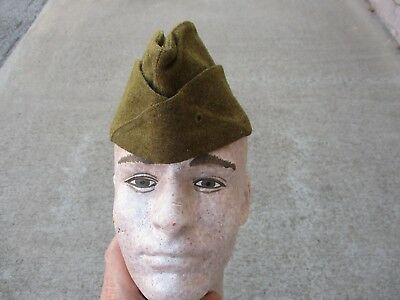 WWI US Army Brown Wool Overseas Hat, Large Size US 7 & 3/8