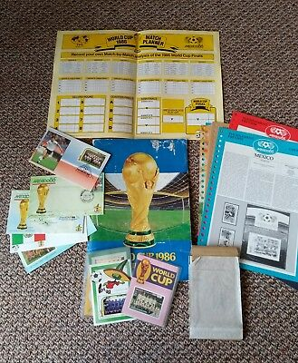 1986 Mexico world cup wall chart and portfolio with stamps etc unused.
