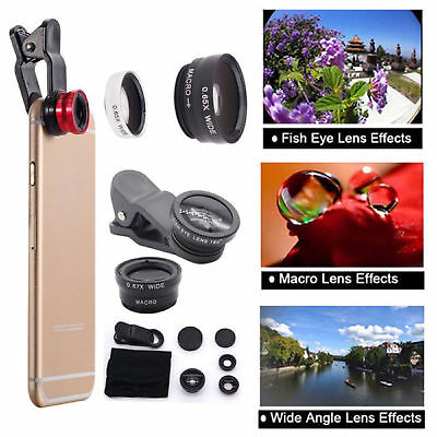 3 in 1 Clip On Fisheye Camera Lens + Macro + Wide Angle For Mobile Smart Phone