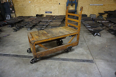 130 LB VINTAGE WOODEN CART keyword Blacksmith Anvil Iron TK
